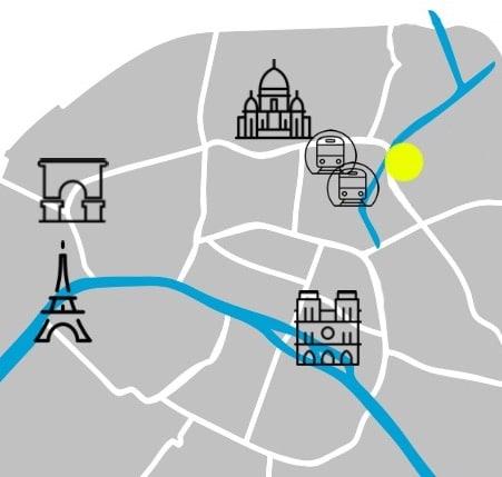 Localisation sur la carte de Paris.