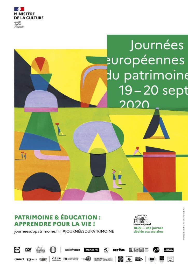 Affiche des Journées Européennes du Patrimoine 2020, Ministère de la Culture – Illustration Jérémie Fischer
